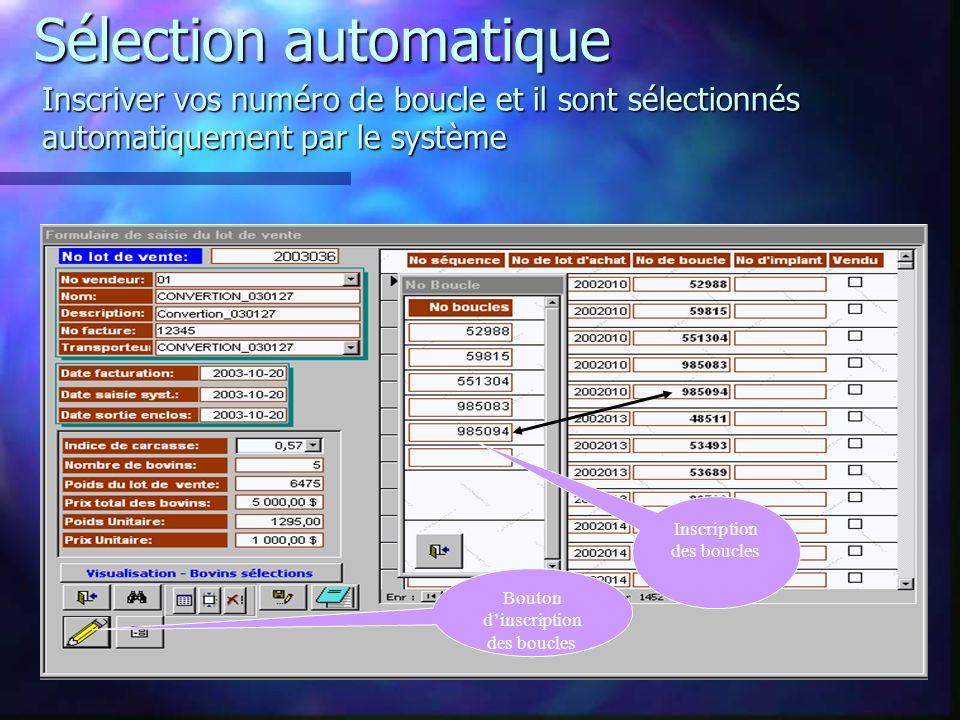 Sélection automatique