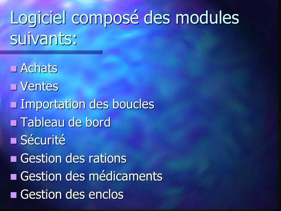 Logiciel composé des modules suivants: