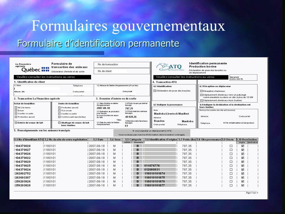 Formulaire d'identification permanente