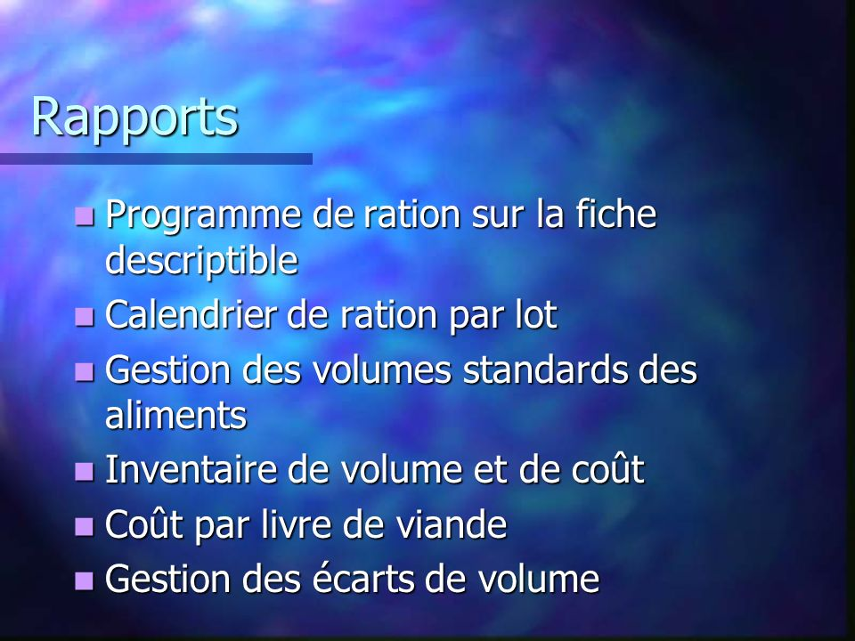 Rapports Programme de ration sur la fiche descriptible