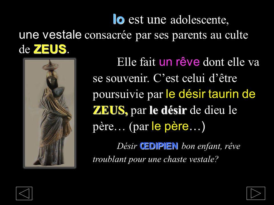 Io est une adolescente, une vestale consacrée par ses parents au culte de ZEUS.