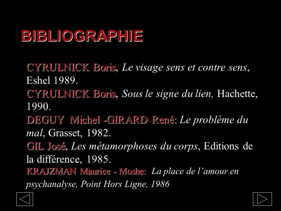 BIBLIOGRAPHIE CYRULNICK Boris, Le visage sens et contre sens, Eshel 1989. CYRULNICK Boris, Sous le signe du lien, Hachette, 1990.
