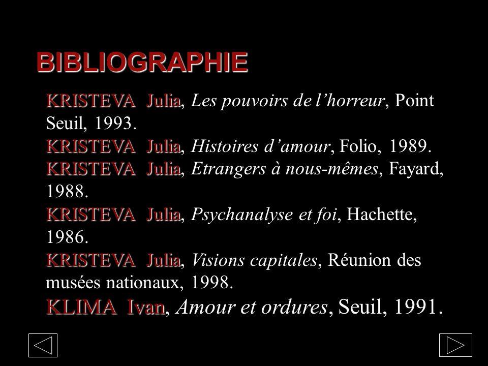 BIBLIOGRAPHIE KLIMA Ivan, Amour et ordures, Seuil, 1991.