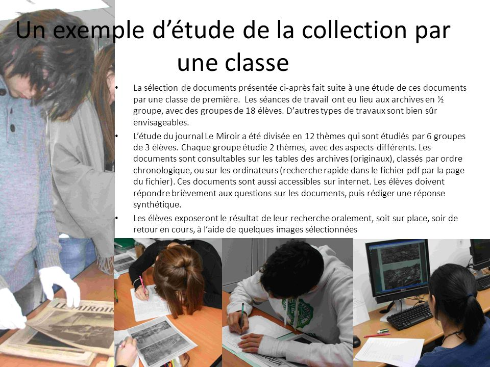 Un exemple d'étude de la collection par une classe