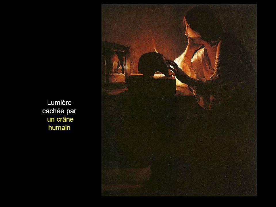 Lumière cachée par un crâne humain
