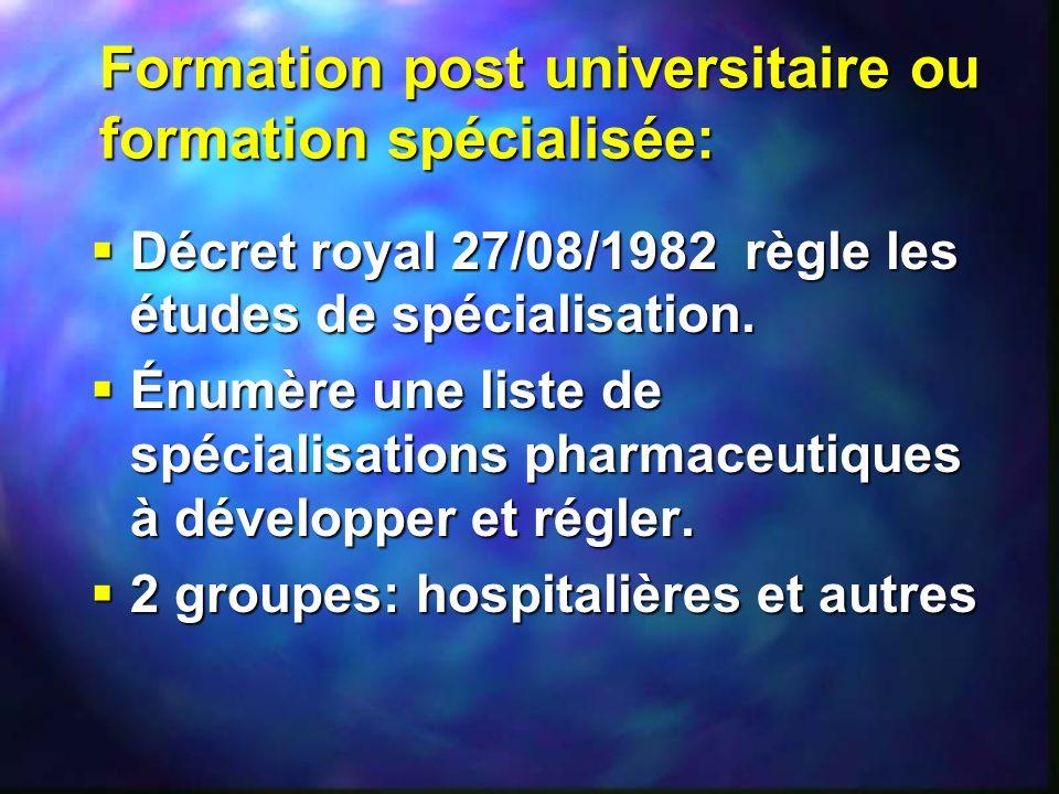 Formation post universitaire ou formation spécialisée: