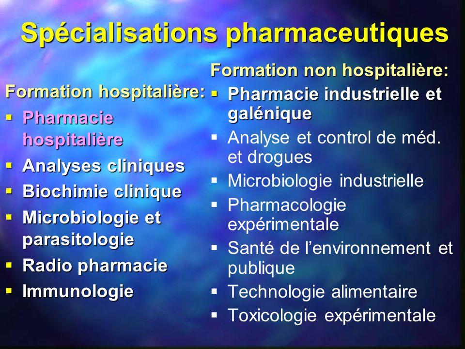 Spécialisations pharmaceutiques