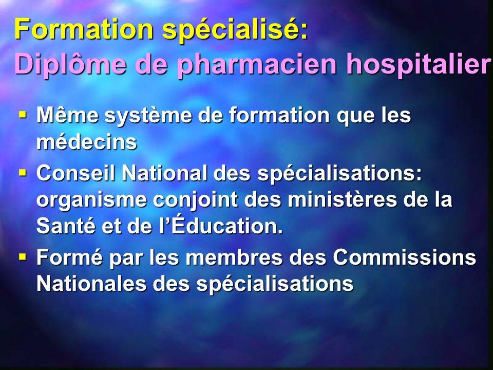 Formation spécialisé: Diplôme de pharmacien hospitalier