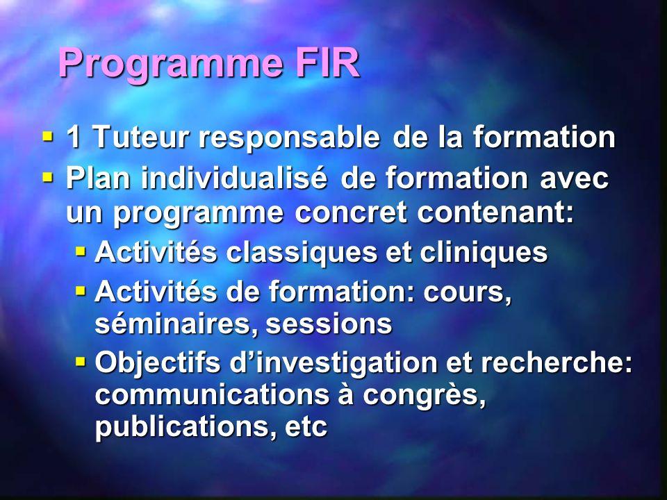 Programme FIR 1 Tuteur responsable de la formation