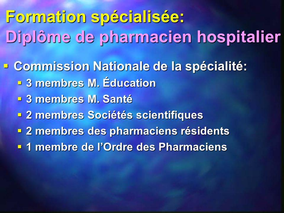 Formation spécialisée: Diplôme de pharmacien hospitalier
