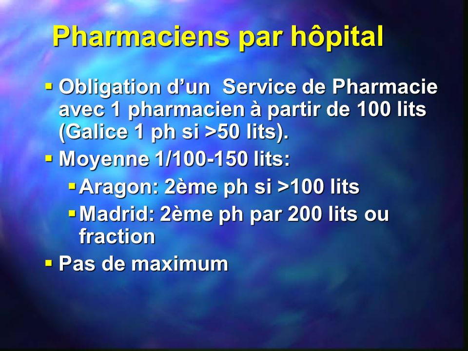 Pharmaciens par hôpital