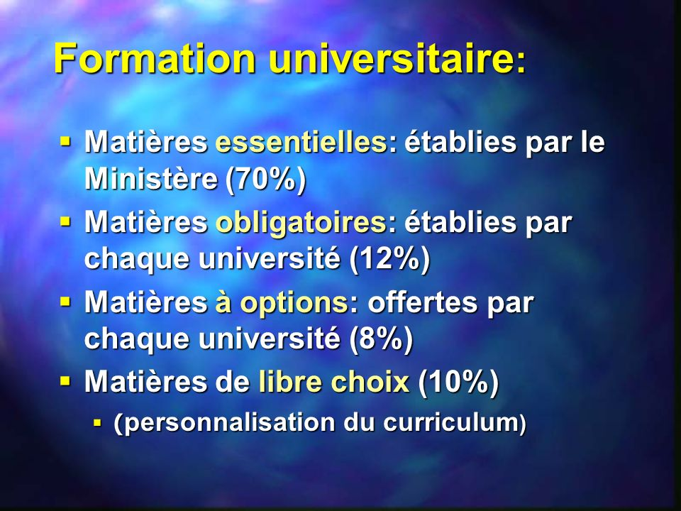 Formation universitaire: