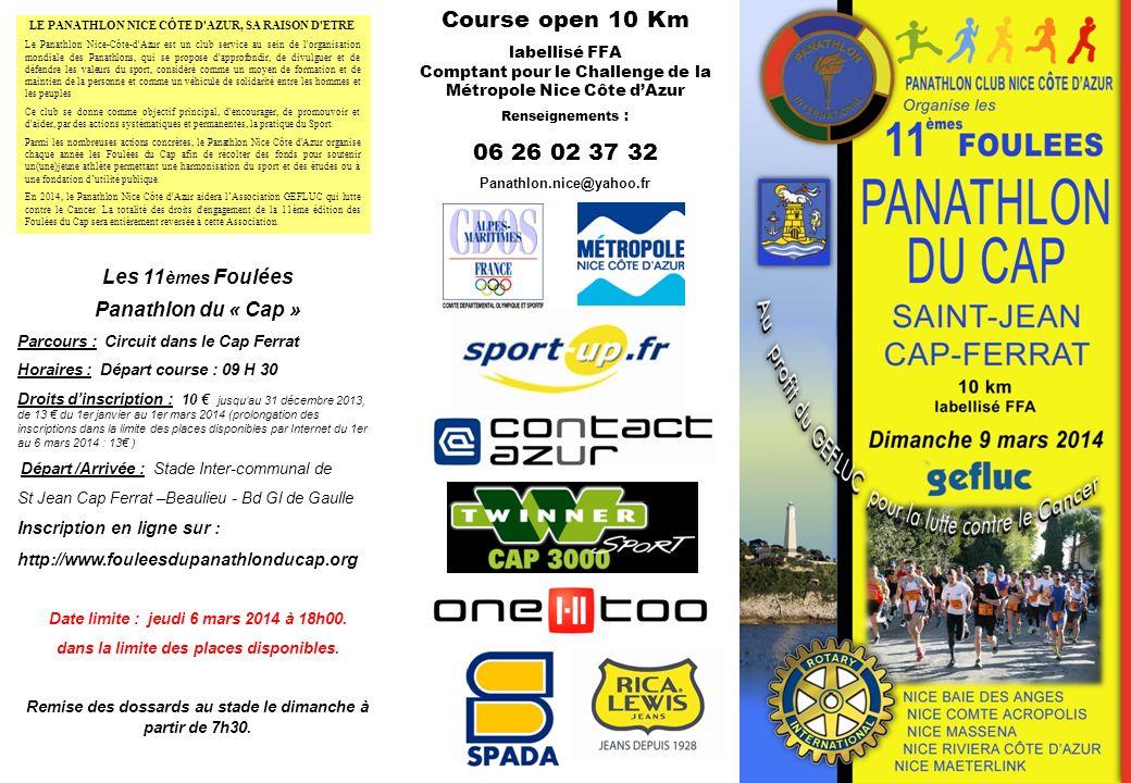 Dimanche ……. 2012 Course open 10 Km 06 26 02 37 32 Les 11èmes Foulées
