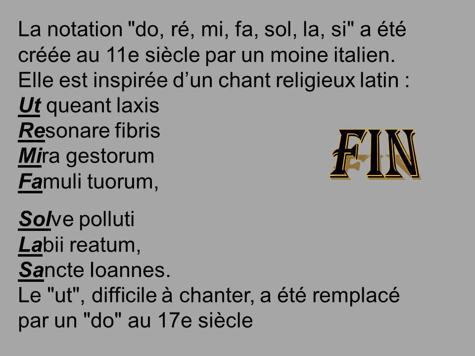La notation do, ré, mi, fa, sol, la, si a été créée au 11e siècle par un moine italien. Elle est inspirée d'un chant religieux latin : Ut queant laxis Resonare fibris Mira gestorum Famuli tuorum,