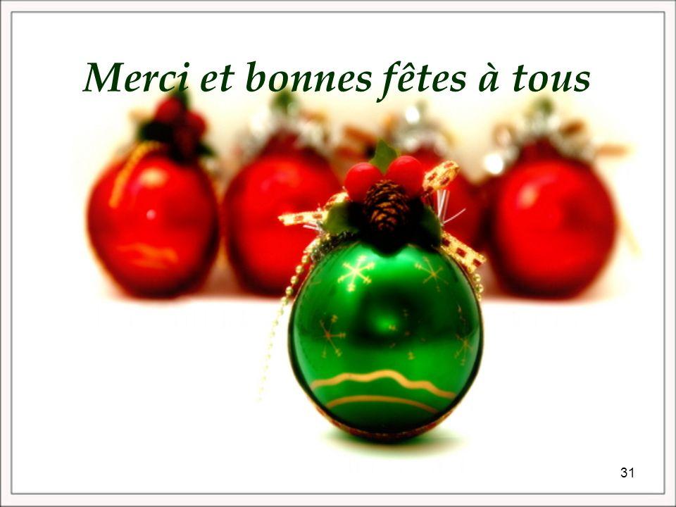 Merci et bonnes fêtes à tous