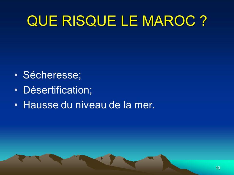 QUE RISQUE LE MAROC Sécheresse; Désertification;