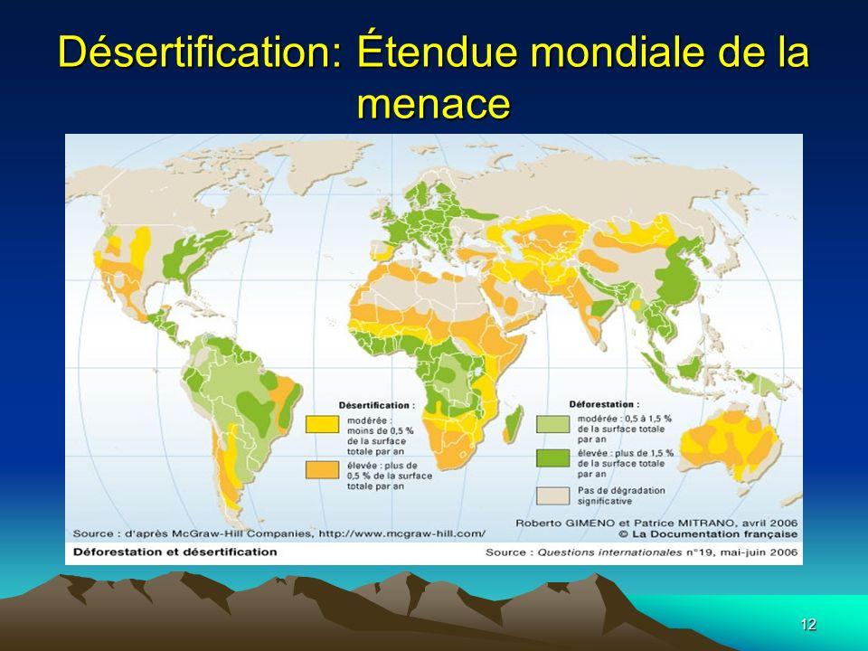 Désertification: Étendue mondiale de la menace
