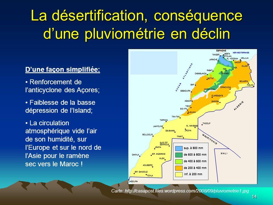 La désertification, conséquence d'une pluviométrie en déclin