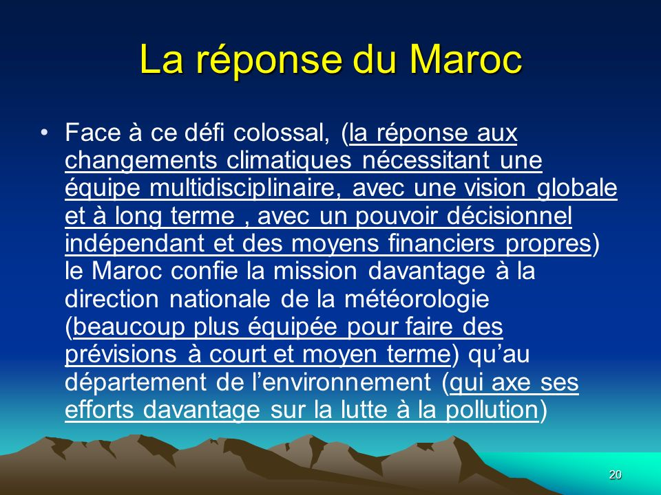 La réponse du Maroc