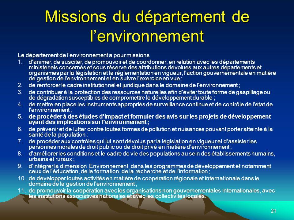 Missions du département de l'environnement