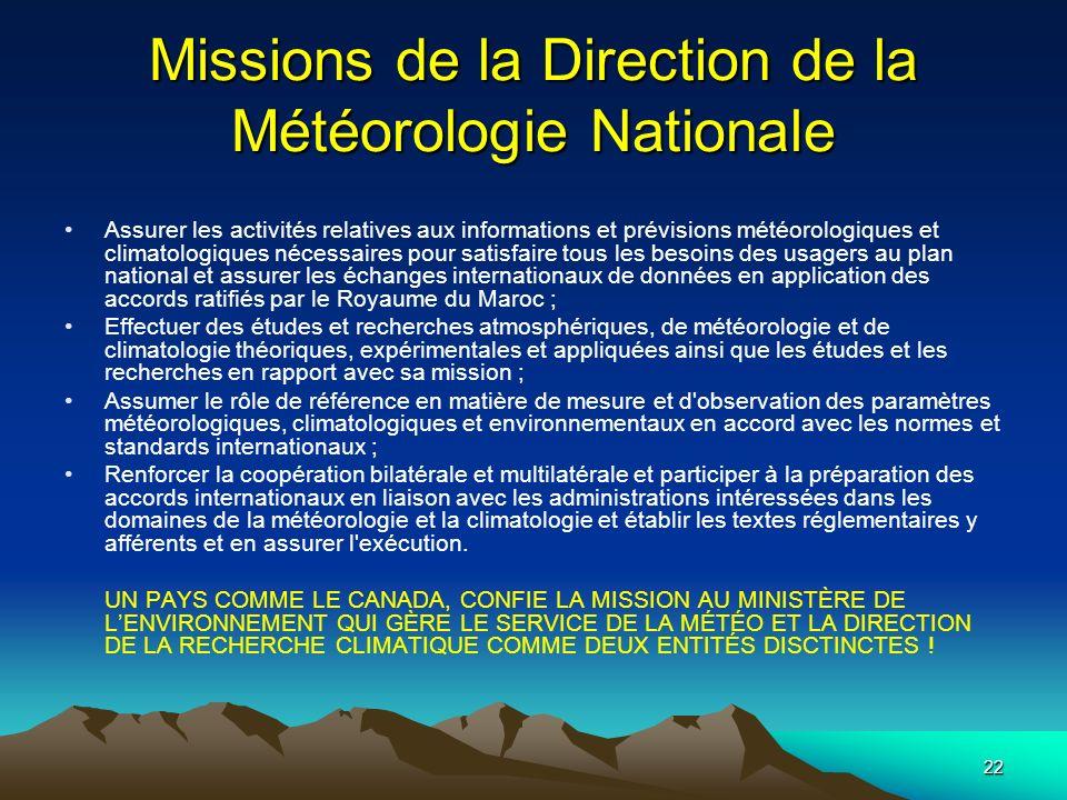 Missions de la Direction de la Météorologie Nationale
