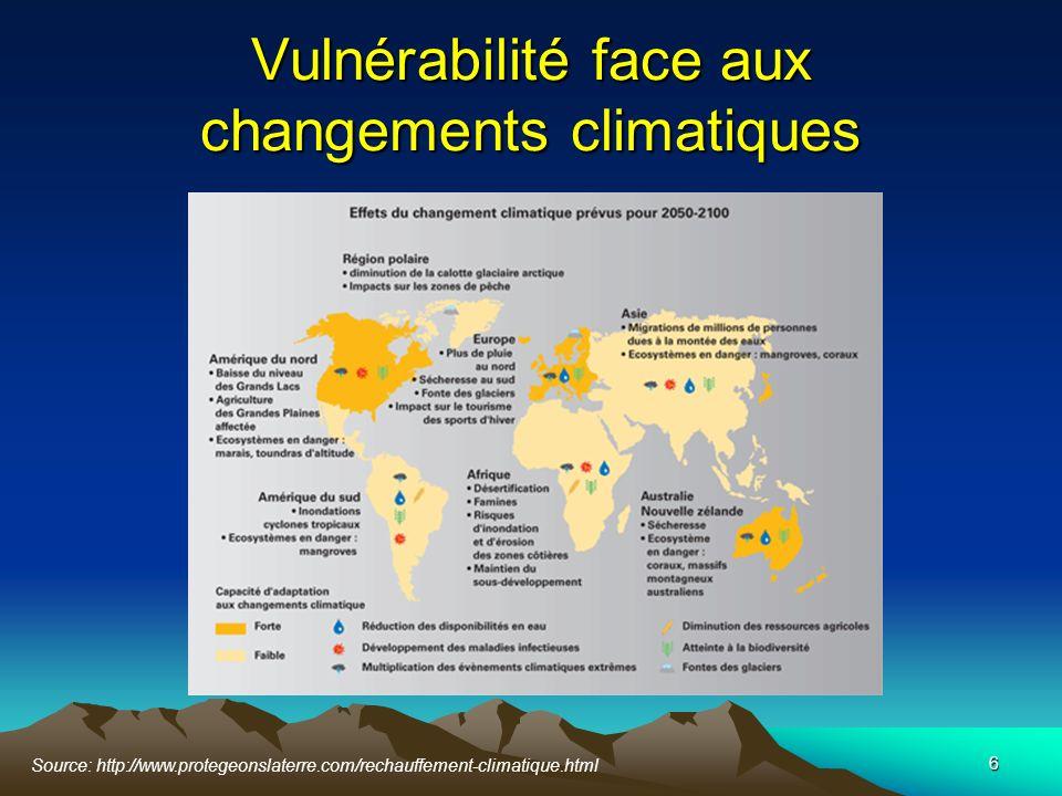 Vulnérabilité face aux changements climatiques