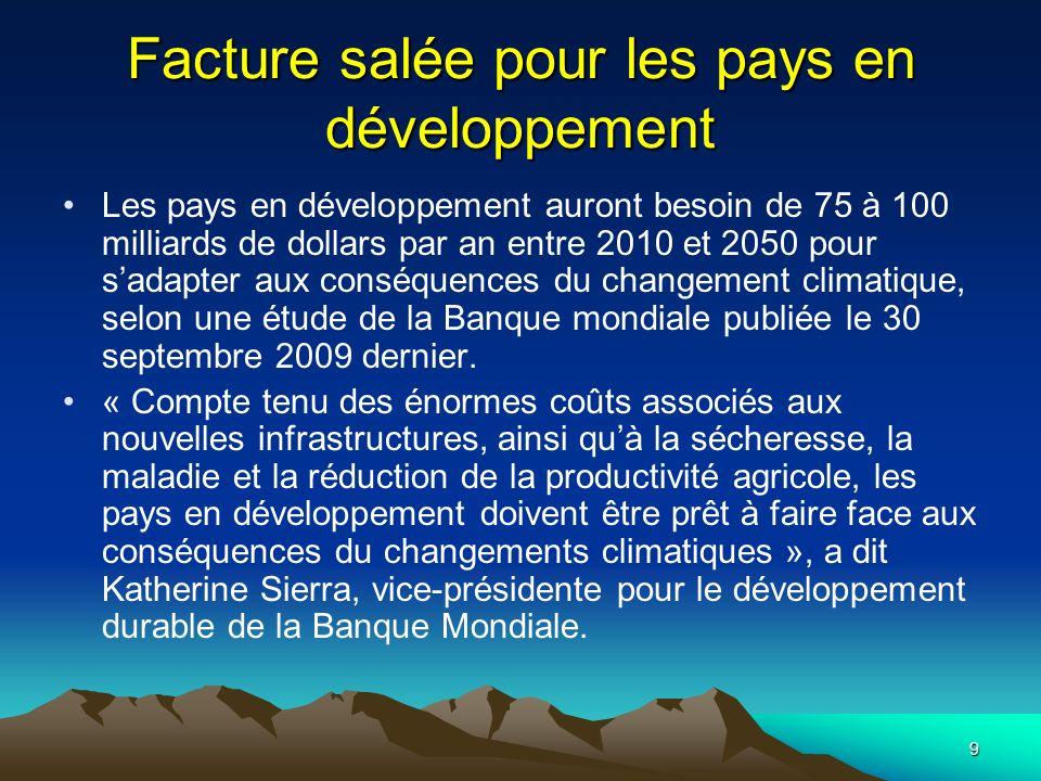 Facture salée pour les pays en développement
