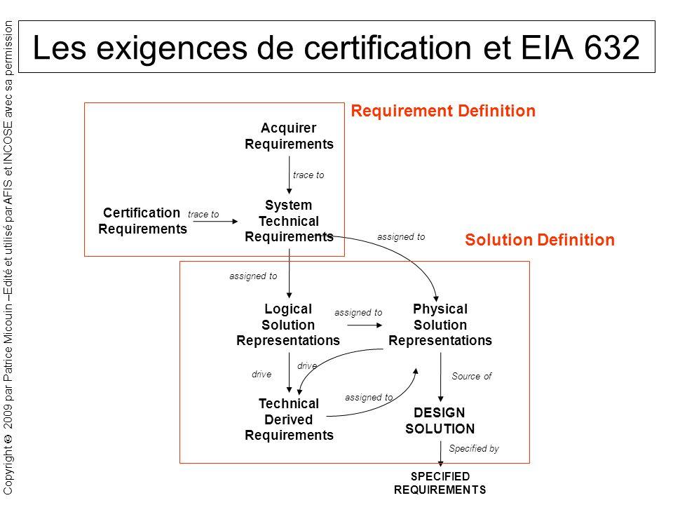 Les exigences de certification et EIA 632