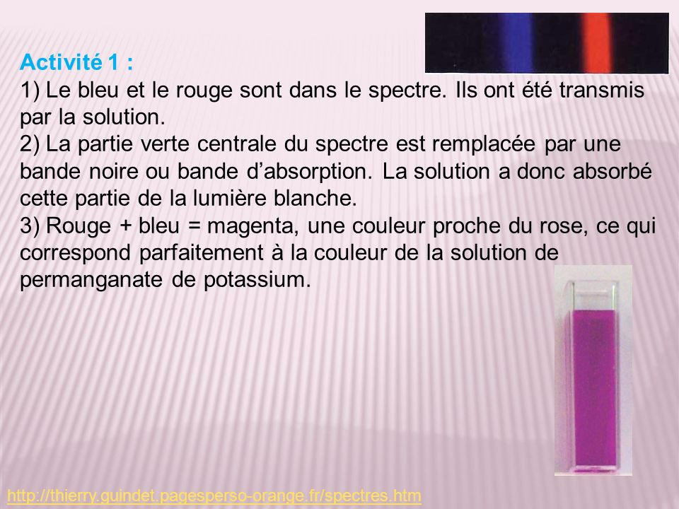 Activité 1 :1) Le bleu et le rouge sont dans le spectre. Ils ont été transmis par la solution.