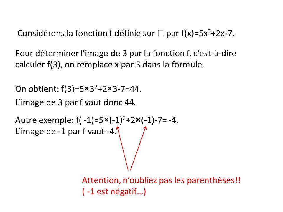 Considérons la fonction f définie sur  par f(x)=5x2+2x-7.