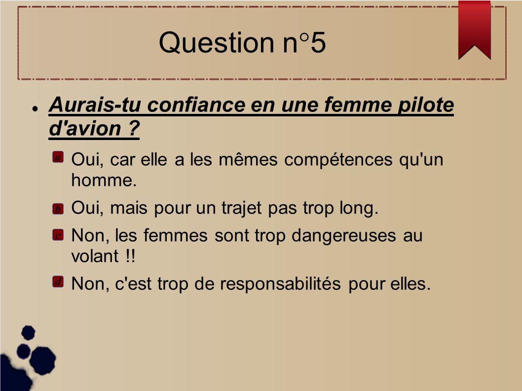 Question n°5 Aurais-tu confiance en une femme pilote d avion