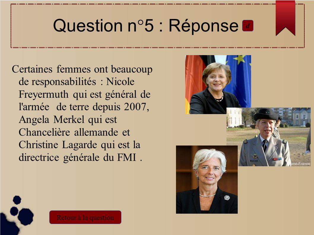Question n°5 : Réponsed.