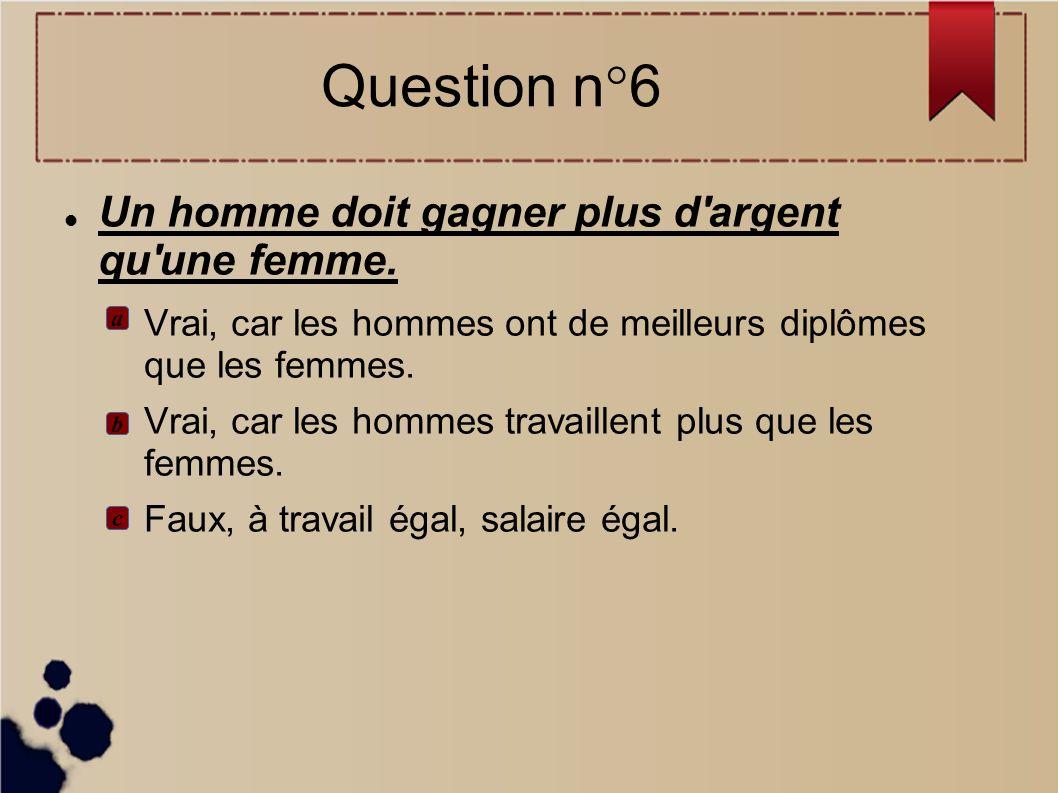 Question n°6 Un homme doit gagner plus d argent qu une femme.