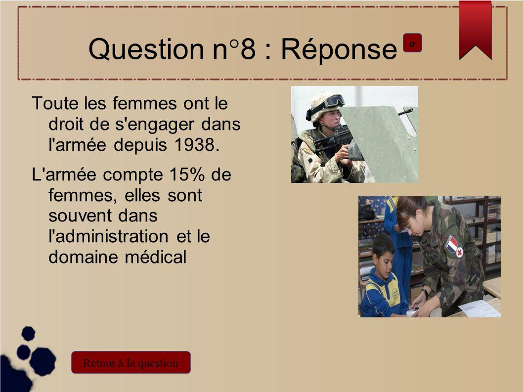 Question n°8 : Réponse a. Toute les femmes ont le droit de s engager dans l armée depuis 1938.