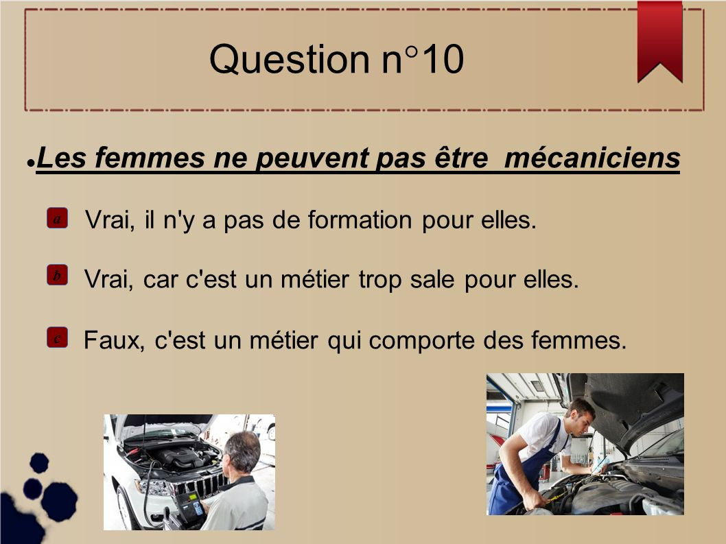 Les femmes ne peuvent pas être mécaniciens