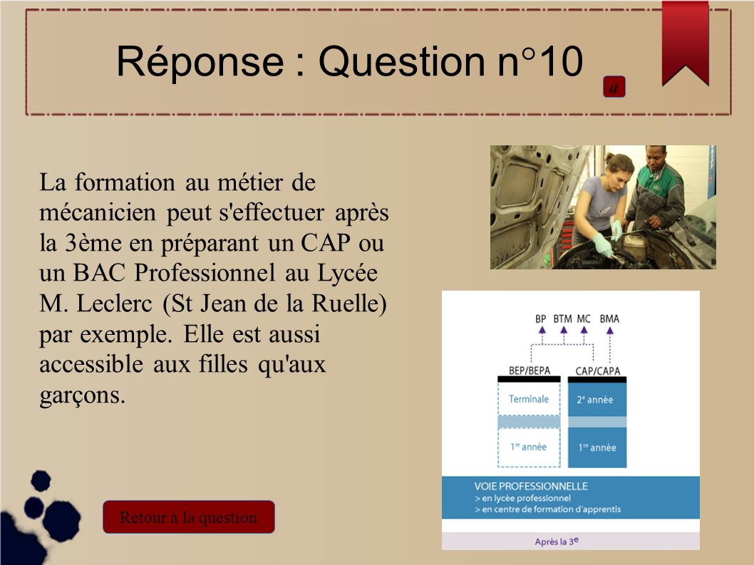 Réponse : Question n°10 a.