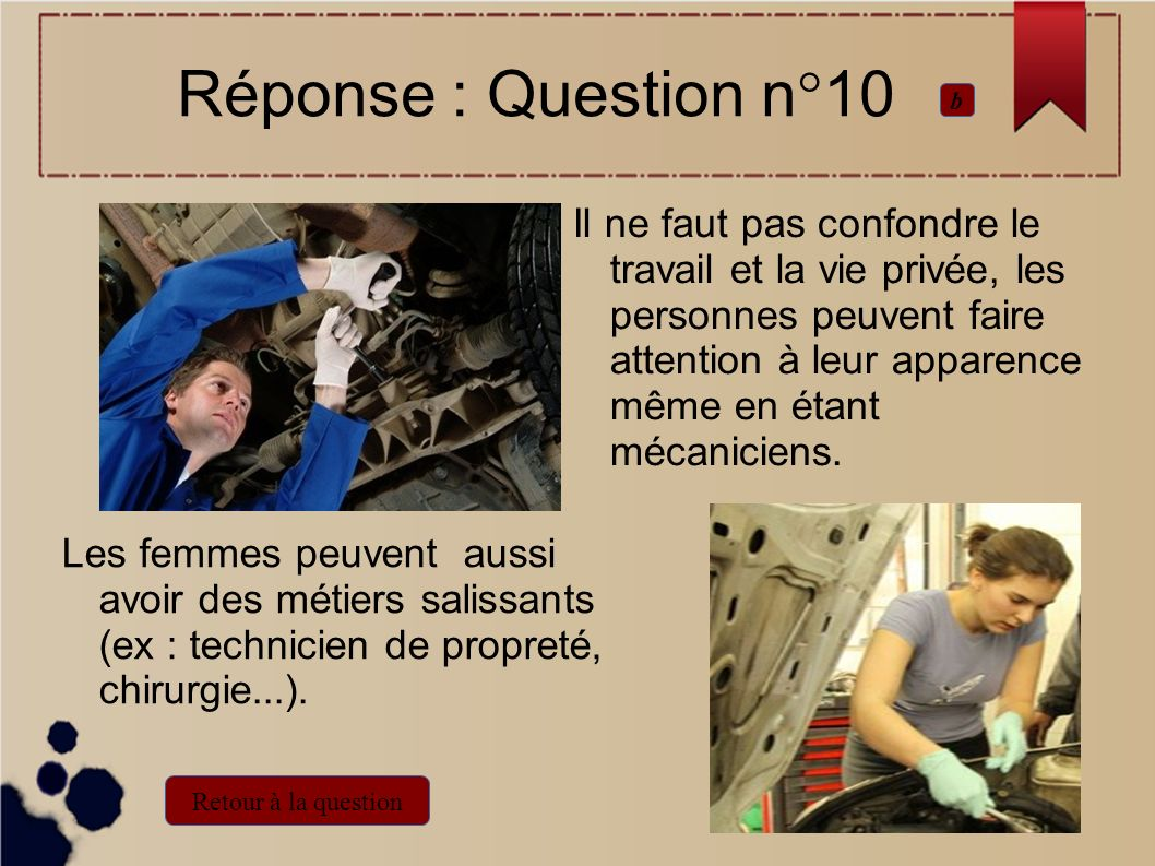 Réponse : Question n°10 b.