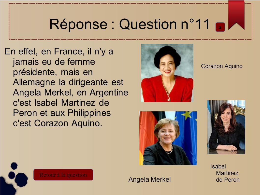 Réponse : Question n°11 a.