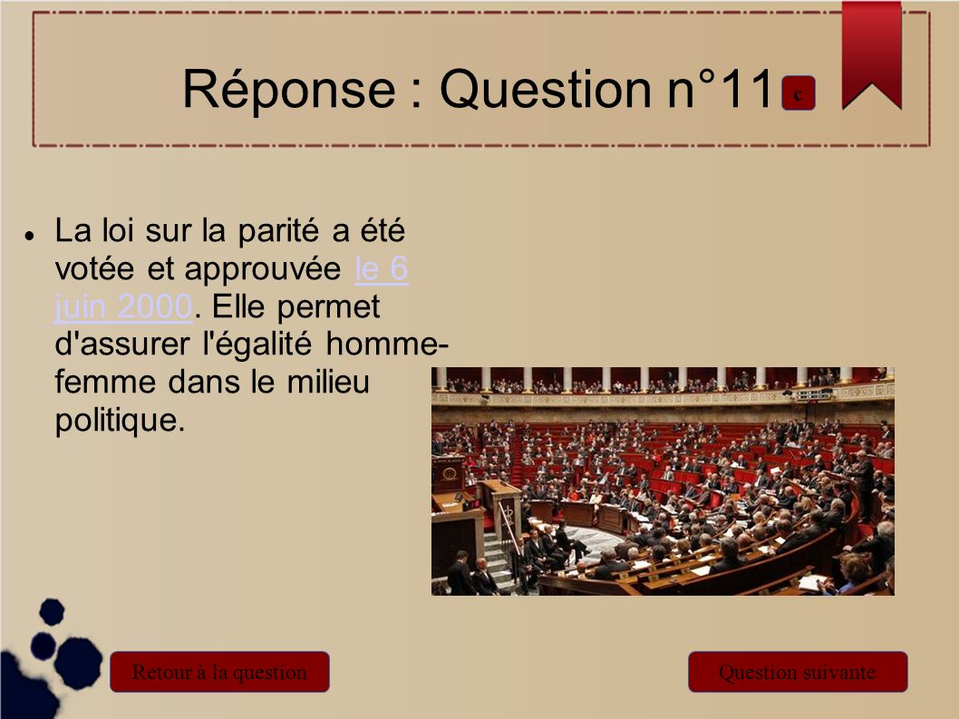 Réponse : Question n°11 c.