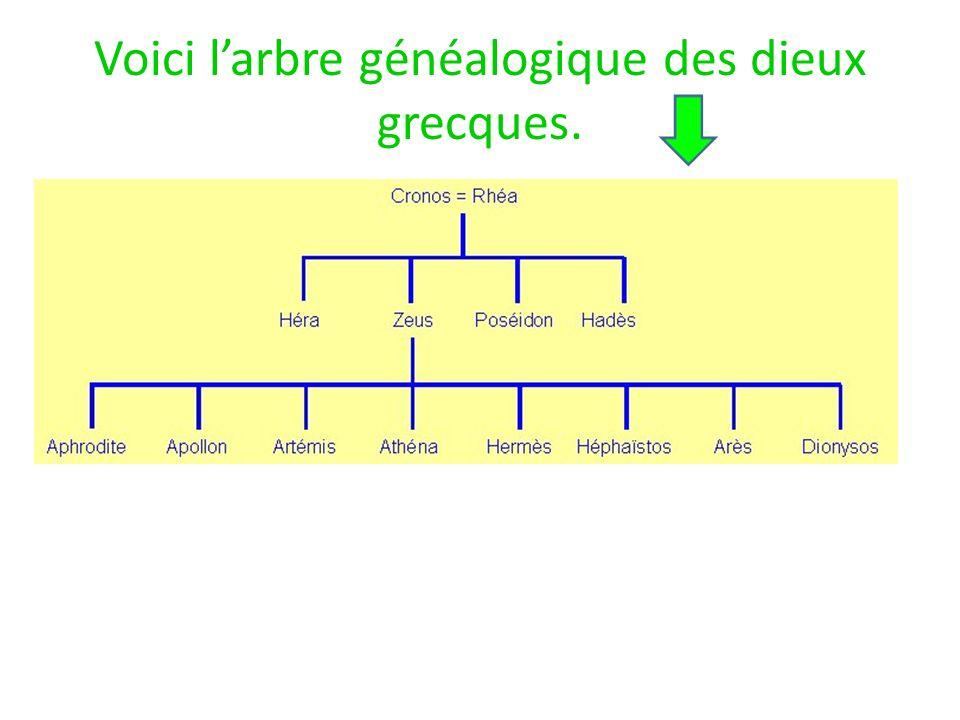 Voici l'arbre généalogique des dieux grecques.