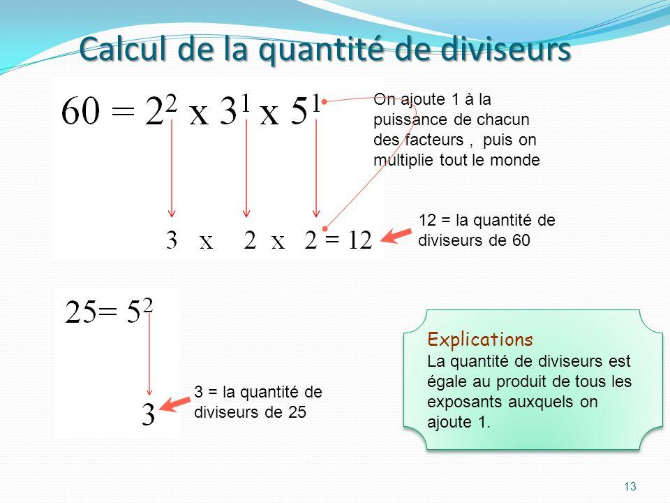 Calcul de la quantité de diviseurs