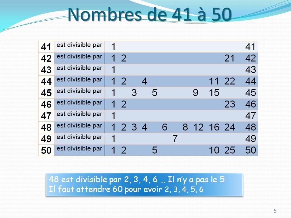 Nombres de 41 à 50 48 est divisible par 2, 3, 4, 6 … Il n'y a pas le 5