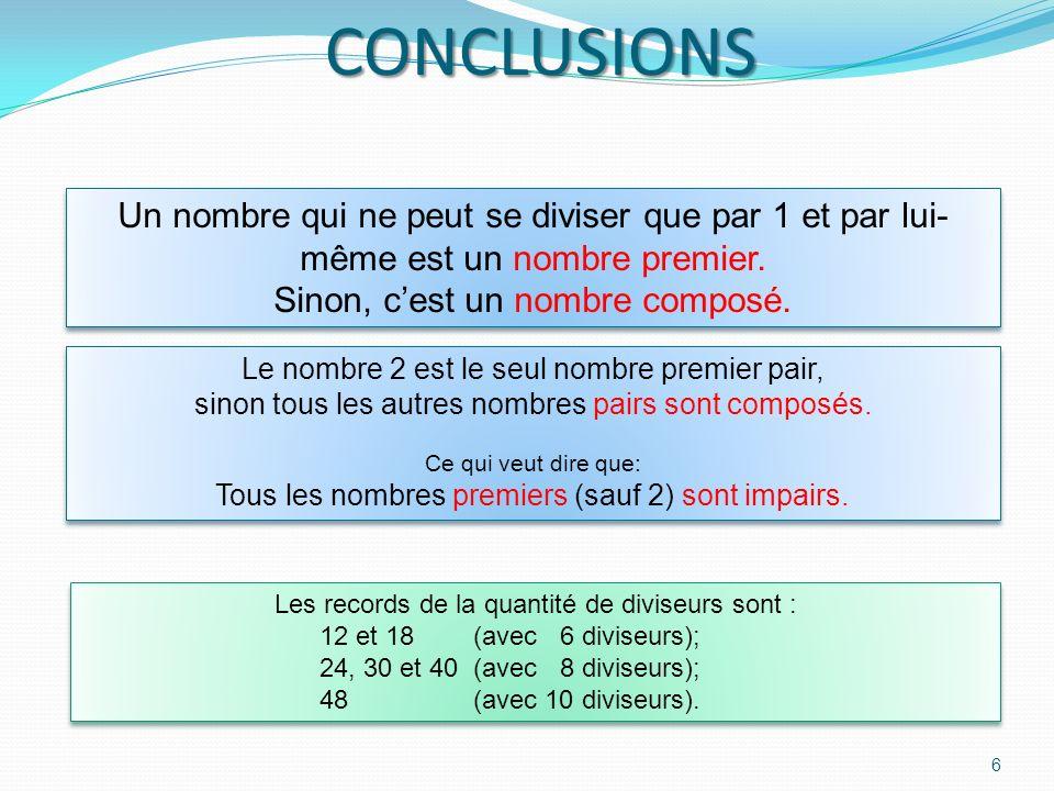 CONCLUSIONS Un nombre qui ne peut se diviser que par 1 et par lui-même est un nombre premier. Sinon, c'est un nombre composé.