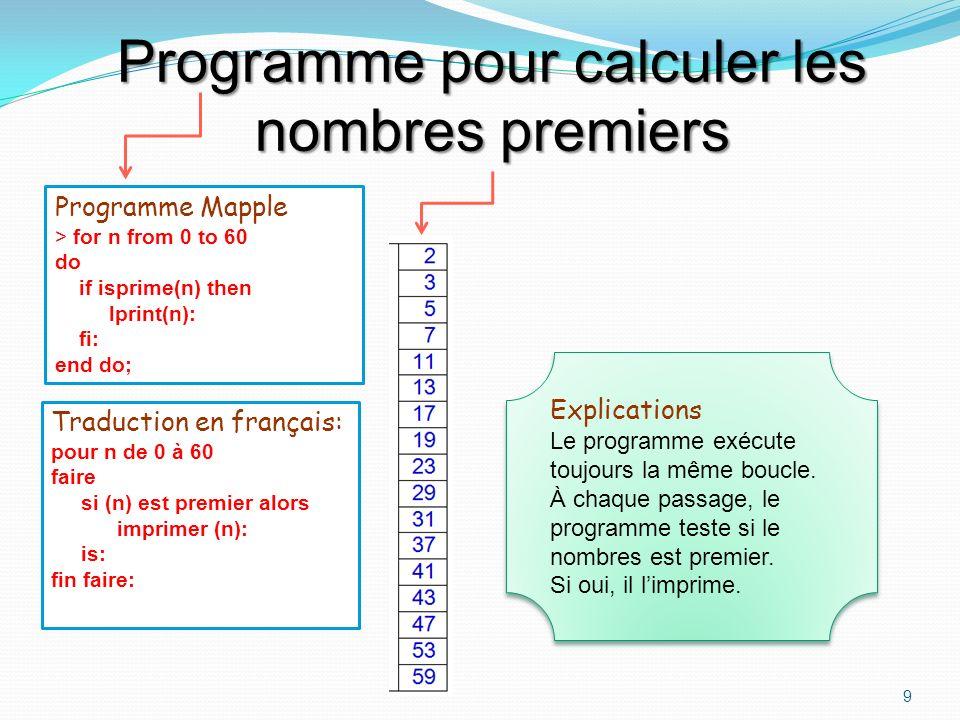 Programme pour calculer les nombres premiers
