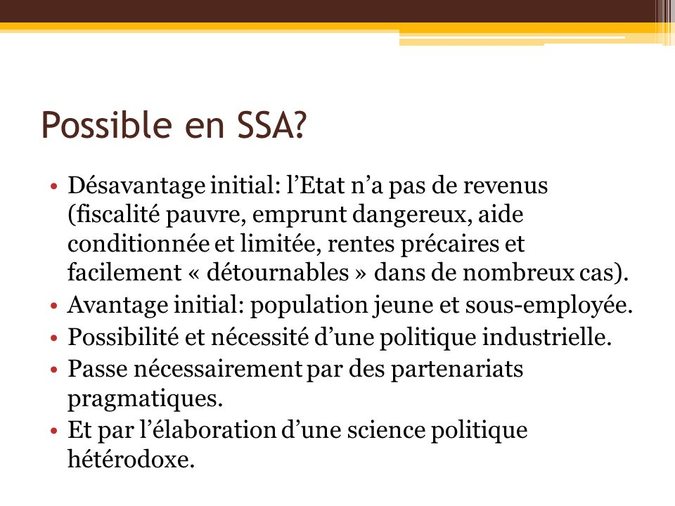 Possible en SSA