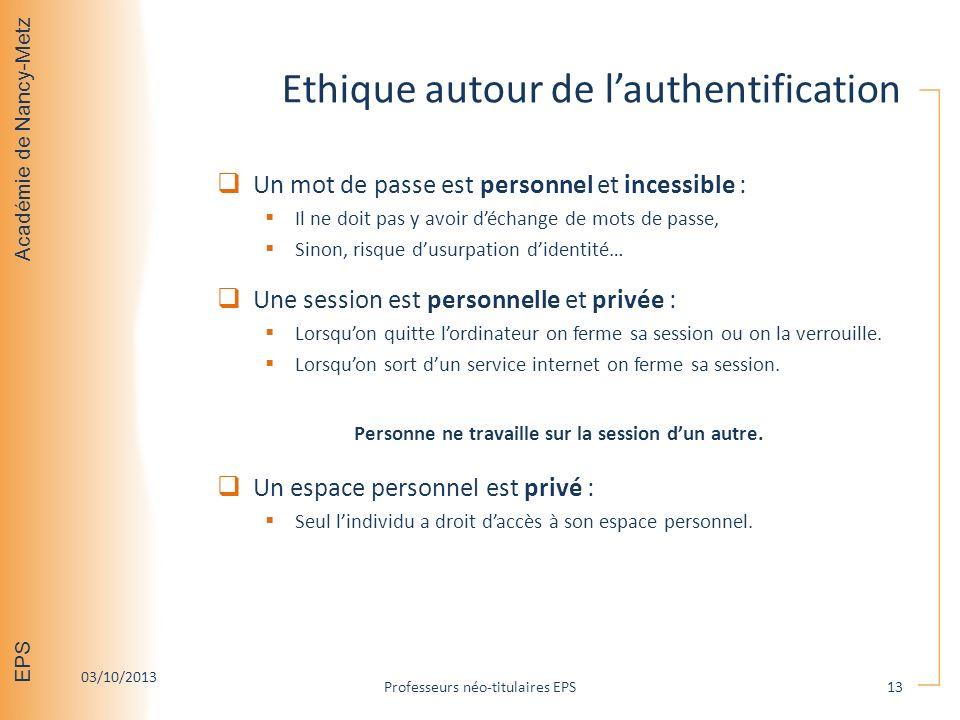 Ethique autour de l'authentification