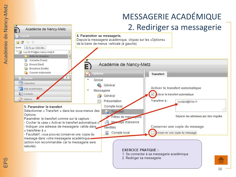 MESSAGERIE ACADÉMIQUE 2. Rediriger sa messagerie