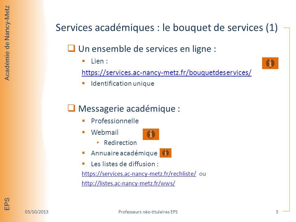 Services académiques : le bouquet de services (1)