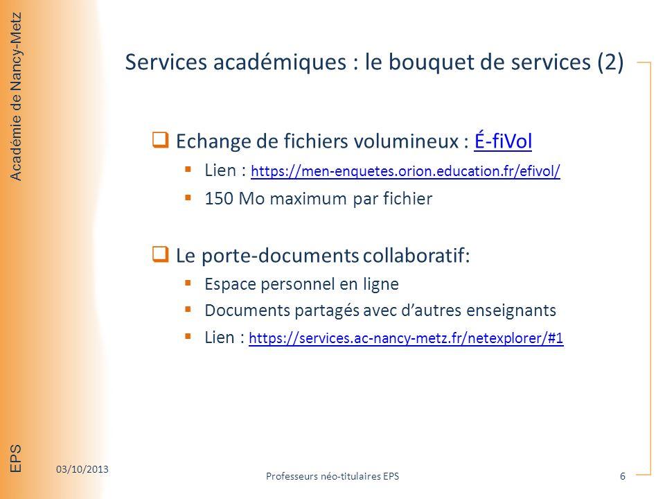 Services académiques : le bouquet de services (2)