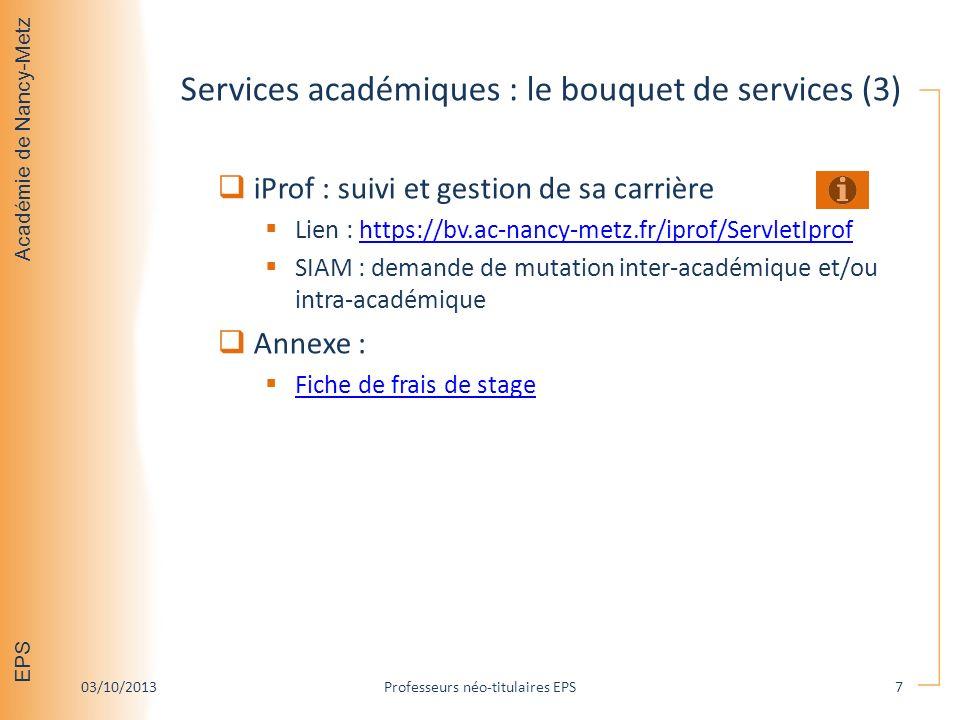 Services académiques : le bouquet de services (3)